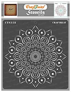 """CrafTreat Stencil - Peacock Dot Mandala 12""""   Reusable Painting Template for Art and Craft, Mixed Media, Wall Painting, Home Decor, DIY Albums, Card Making and Fabric Painting 12""""X12"""""""