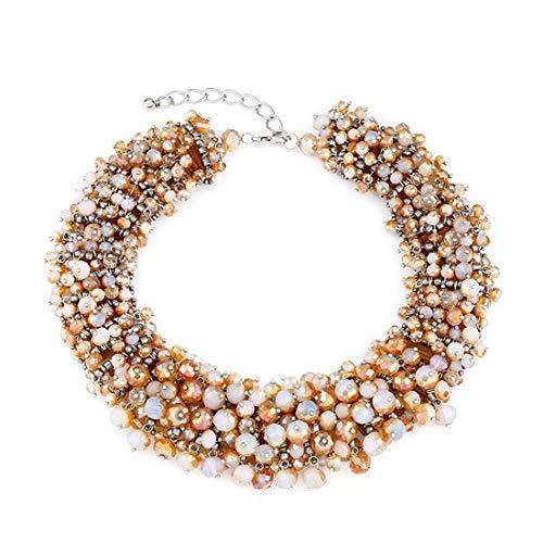 FUBULECY Frauen Mädchen Halloween Kunststoff Perlenverzierung Multi Layer Tassel Choker Bib Statement Halskette Österreich (Color : Cream Color)