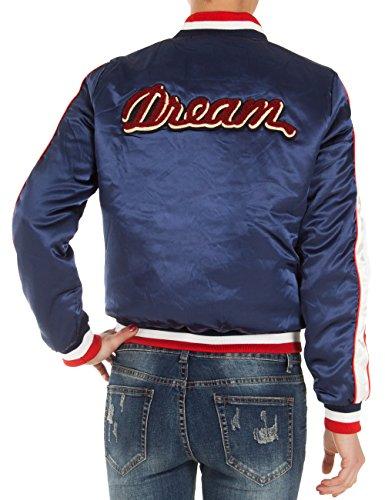 Fraternel Damen Jacke gefütterte Bomberjacke Baseballjacke Blouson Collegejacke Blau