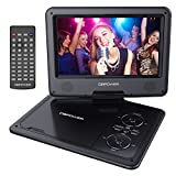 9.5'' Tragbarer DVD-Player mit Wiederaufladbarer Batterie, Schwenkbaren Bildschirm, Unterstützt SD-Karte und USB, mit Spiele-Joystick, Auto-Ladegerät-Schwarz