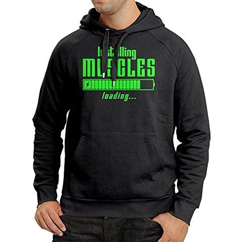 Sweatshirt à capuche manches longues Vêtements musculaires - pour musculaires, design vintage, vêtements de fitness (XXX-Large Noir Verte)