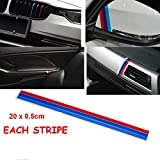 BizTech  - Bandes Autocollantes en PVC M Power Sport - Compatible avec BMW Série 1 2 3 4 5 6 7 8 Z3 Z4 M3 M5 M6 X1 X3 X4 X5 X6 ou Tout Autre véhicule