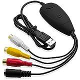 Top-Longer Dispositivo de Captura de Video y Audio RCA con Cable de Transferencia USB 2.0 Compuesto S-Video a USB - Convertidor de VHS a DVD para Windows 10 y Mac OS X 10.x