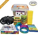 Magnetische Bausteine, Magnetische Bauklötze||Pädagogische Bausteine||Magnetische Konstruktion||Kleinkind Spielzeug Magnete Kinder - DIY Spielzeug mit Bedienungsanleitung und Aufbewahrungsbox (62+58)