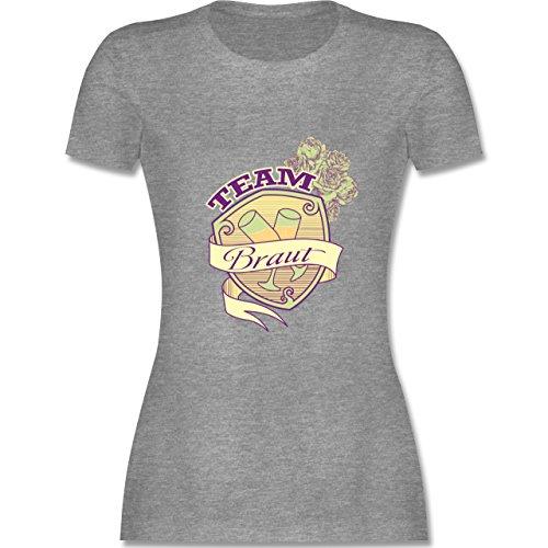 JGA Junggesellinnenabschied - Team Braut Schild - tailliertes Premium T-Shirt mit Rundhalsausschnitt für Damen Grau Meliert