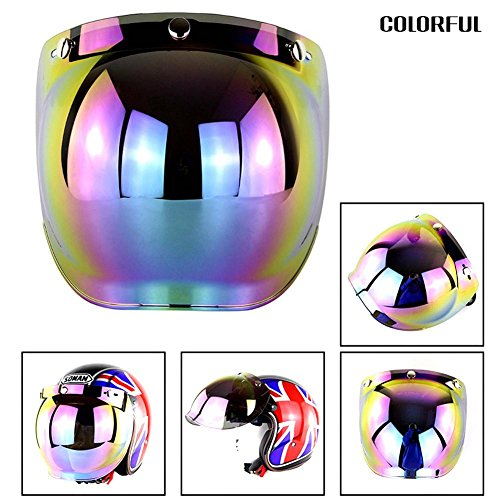 Bubble Shield Futurepast Shield Visier Helmet Bubble Shield Motorrad Helmvisiere Schutzschild Gesichtsschutz 3 Druckknöpfe Windschutz Schutzschild Bunt