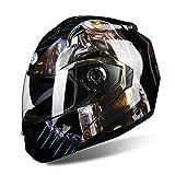 PQ&D Casque Tout-Terrain Professionnel, Casque de vélo de sécurité certifié pour Le Visage de Moto Unisexe de Scooter ATV,Black,XXL