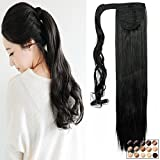 26' Postiche Queue de Cheval Extension de Cheveux Lisse - Wrap Around Ponytail Clip in Hair Extensions - Noir Naturel (66cm-135g)