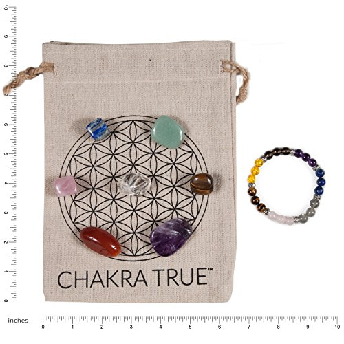 MacoodeCompany Chakra del Kit De La Verdadera Meditación, Piedras 7 Chakras, Pulsera De Piedra Chakra Y Bono Impreso Mandala Ropa Bolsa De Transporte