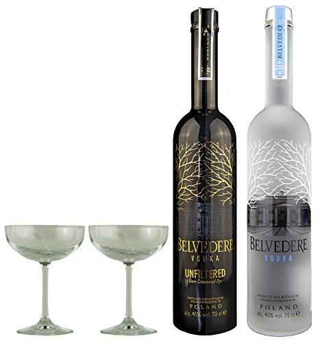 Geschenkidee Belvedere + Belvedere Unfiltered + 2 hochwertige Martini-Gläser | Luxus Doppelpack | je 40%, 0,7 Liter