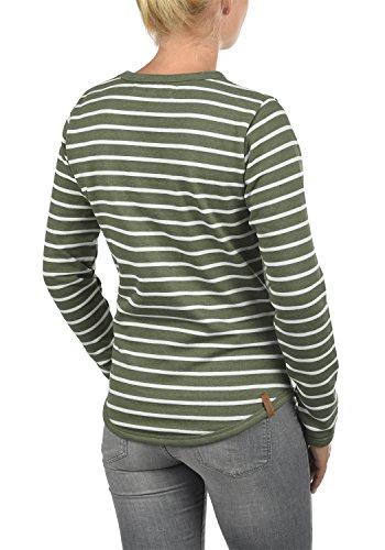 BLEND SHE Christin Damen Sweatshirt Pullover mit Streifen und Rundhals-Ausschnitt aus hochwertiger Baumwollmischung Ivy Green