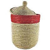Gruener Handel Bommel - Aufbewahrungskorb/Wäschekorb mit Deckel - Fair Trade (Rot)