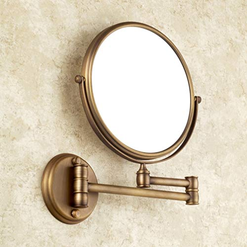 LUDSUY Badezimmer-Spiegel Der Wand Befestigt 8 Zoll Messing 3X / 1X Vergrößerungsspiegel Folding Schwarz Öl/Gold-Verfassungs-Spiegel-Kosmetische Spiegel-Dame Gift, A - Messing Wand Spiegel