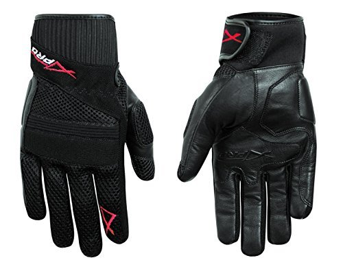 A-pro Hi Quality Leather Textile Summer Gloves Motorcycle Motorbike Scooter Black L