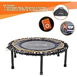 Fit Bounce PRO II Mini Trampoline Fitness Bungee|Fabrication Professionnel pour Adultes et Enfants, Silencieux, Pliable|Incluant DVD, Sac Rangement, Compteur de Sauts, Vidéos d'Exercices en ligne