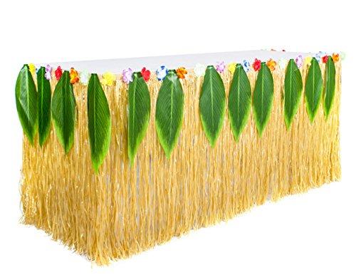(Fortuning'sJDS Hawaiianische Hibiskus-Blume Blätter Gras Tisch Rock Partydekorationen)