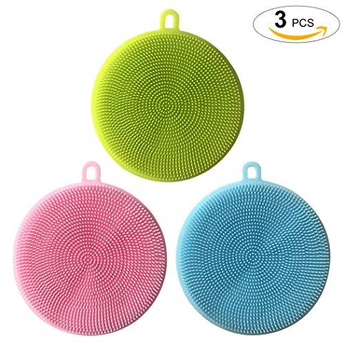 Scrubber à la Silicone, Outgeek Food Grade Multi-Purpose Antibacterial Dishwashing Sponge Scrub Sponge (Pink, Green, Blue)