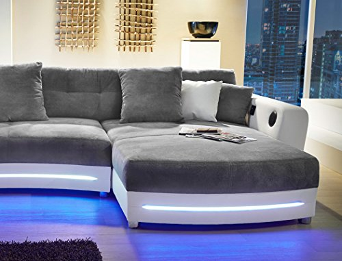 Multimedia Sofa Larenio Hifi Wohnlandschaft 322x200 Cm Grau Weiss