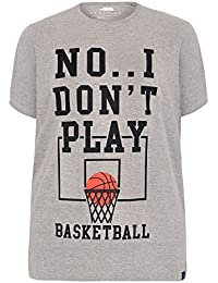 Yours Yoursclothing Mens Badrhino MARL Basketball Slogan Print T-Shirt - Tall Extra Large Sizes L To