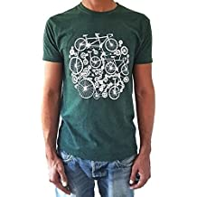 8b223863553ba Camiseta de hombre Bicicletas - Color Verde botella Heather - Talla XL -  Tacto Suave -
