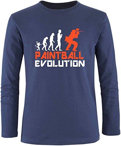 EZYshirt® Paintball Evolution Herren Longsleeve Navy/Weiss/Orange