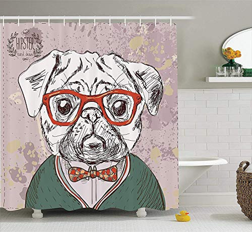 Duschvorhang,Dog Lover Decor Shower Curtain Set Vintage Illustration of Old Hipster Pug Dog with Red Glasses and Bow Master of Professor Bathroom Accessories Multi 60X72 Inch