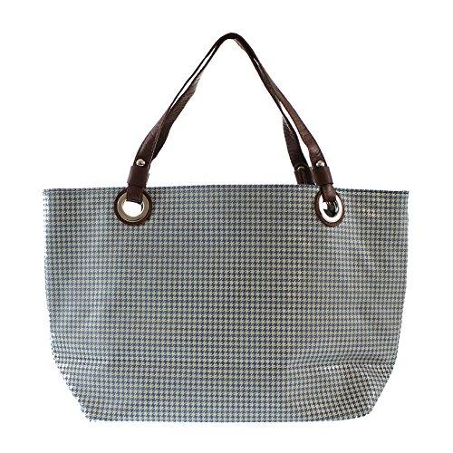 CTM Sac à main de femme, sac fourre-tout avec des motifs géométriques, en cuir véritable italien fabriqué en Italie 48x31x15 Cm