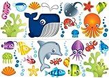 Fun4Walls Fine Décor Adhesivos reposicionables para Pared, diseño de Animales Marinos