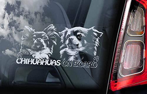 CELYCASY V09 Aufkleber für Autofenster, Motiv: Chihuahuas on Board