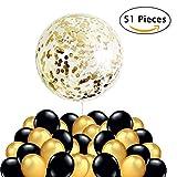 50 Luftballons Schwarz Gold Ballons + 1 Riesen Konfetti Luftballon Golden, Silvester Deko 2019 Party Dekoration für Hochzeit, Geburtstag, Abschlussfeier und Geburstagsdeko