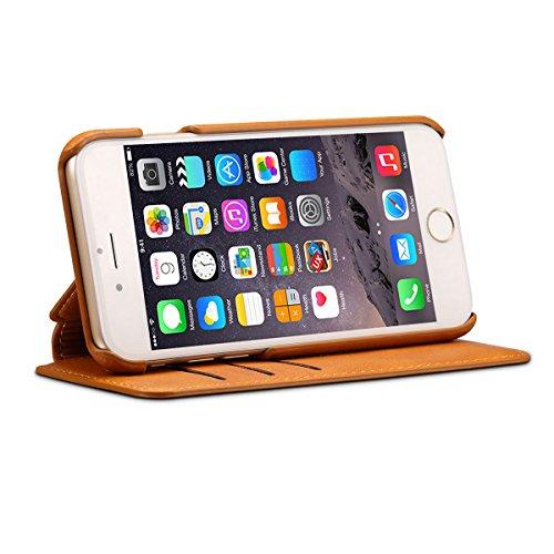iphone 7 Plus (5,5 Zoll) Hülle Feitenn Ledertasche Buch Stil Hülle Schutzhülle Mit Standfunktion Kartenhalter Magnetverschluss Handyhülle Für iphone 7 Plus (2016) - Gelb Gelb