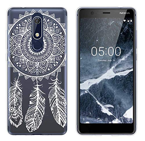 yayago Hülle für Nokia 5.1 Silikon Schutzhülle Hülle Case Backcover Tattoo Ornament Spring Design transparent Tasche