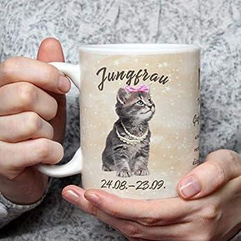 Geschenk Tasse Katze lustig mit Spruch Sternzeichen Jungfrau Katzenmotiv Geburtstagsgeschenk für Katzenliebhaber Geburtstag Frauen Freundin
