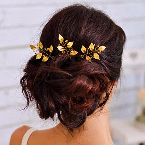 aukmla Brautschmuck Kristalle Haarnadeln Folien Blätter Gold Hochzeit Haar-Accessoires für Braut und Brautjungfer, hp-1(Pack von 3)
