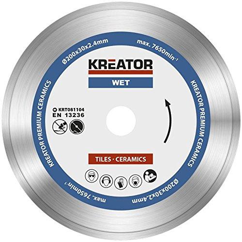 KRT081104 Diamantscheibe Premium Trennscheibe ø200 x 30 x 2,4mm für Nassschnitt Keramik Fliesen + Reduzierringe auf Ø25,4 + 22,2mm