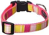 Sassy Dog Wear Hundehalsband, gestreift, 1,9 x 33-50,8 cm, Medium, Neon Pink/Multicolor