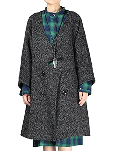 Vogstyle Women's New Double-breasted Outerwear Wool Coat X-Large Black