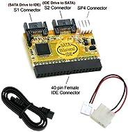 Bipra Bi-direktionales IDE / SATA-Kabel (verbindet IDE-Laufwerk mit SATA-Motherboard oder SATA-Laufwerk mit ID