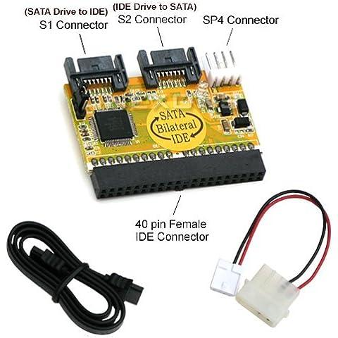 Bipra bidireccional IDE/SATA Converter (Connect Disco IDE a Unidad SATA o SATA de la placa base a IDE placa base)