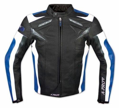 Moto-Giacca-Pelle-Motociclismo-Sport-Gilet-Estraibile-Protezioni-CE-Blu-XXL