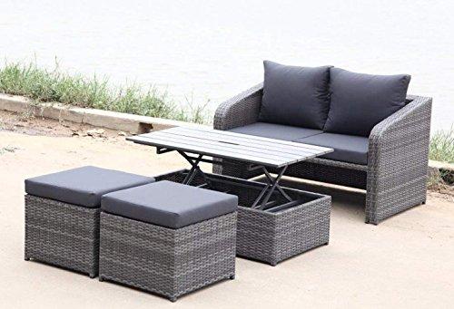 SSITG Gartenmöbelset Loungeset 4teilig Sitzgruppe Polyrattan