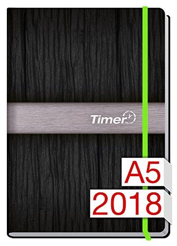 Chäff-Timer Premium A5 Kalender 2018 [Neon grün] 12 Monate Jan-Dez 2018 - Gummiband, Einstecktasche - Terminkalender mit Wochenplaner - Organizer - Wochenkalender