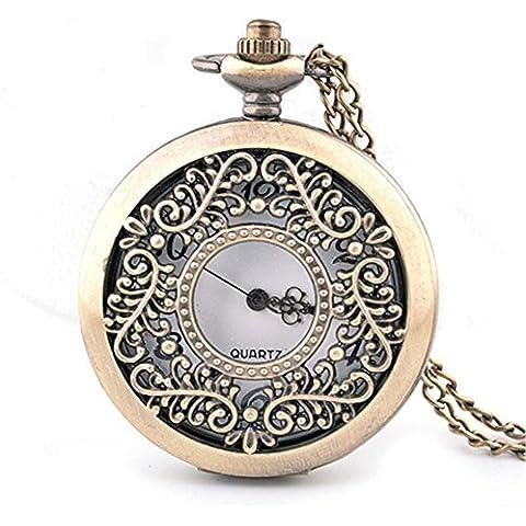 Elegante Openwork intagliato a conchiglia collana orologio da tasca