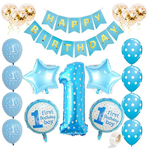 Dekorationen für Jungen Aufpumpen Helium Folienballons Dekoration Blau Happy Birthday Banner Baby Party Luftballons Alles Gute zum Geburtstag Ballons Konfetti Latex Luftballons ()