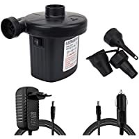 Bomba de aire eléctrica portátil Alexen 220V AC / 12V Bomba de aire de llenado rápido para inflable de aire inflable. El uso del hogar y del automóvil se puede usar en la bolsa, el anillo de natación, la cama inflable, etc.(¡No para globos!)