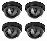 NONMON 4 Pack Dummy Security Dome Cameras with Flashing LED Lights Black