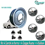 """RA24 Kit Cerchi in Ferro per Fiat 500 d'Epoca da 12"""" Coppe cromate Bulloni"""