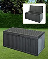 BLACK PLASTIC GARDEN STORAGE BOX LID PATIO SHED UTILITY CUSHION CHEST 747519