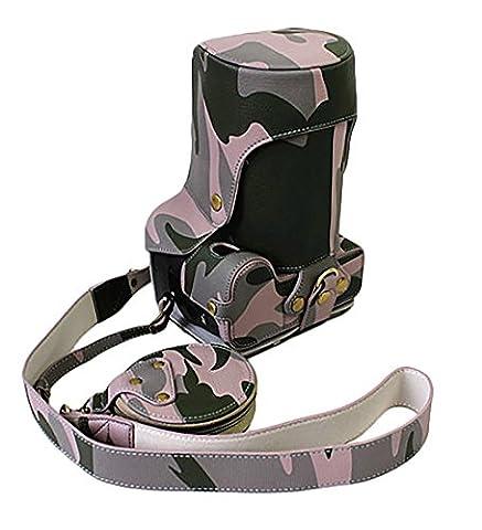 Pleine Protection bas ouverture Version protection PU cuir cas sac photo pour Pentax K-S2 Ksii avec objectif 50-200mm/16-85mm avec bandoulière Camouflage