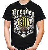 Für Immer Dresden Männer und Herren T-Shirt   Sport Fussball Stadt Fan (M, Schwarz Druck: Bunt)